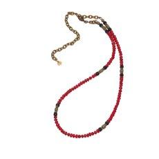 画像2: 【Meltingpot by Lakeman】2way Necklace DEEP RED Black x Olive (2)