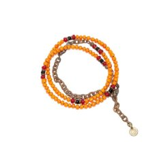 画像3: 【Meltingpot by Lakeman】2way Necklace ORANGE Deep red x Black (3)