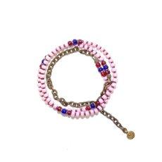 画像4:  【Seed beads】2way Necklace MASAI PINK Purple red x Blue [MEL173] (4)