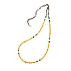 画像2:  【White Hearts】2way Necklace YELLOW Green x White [MEL153] (2)