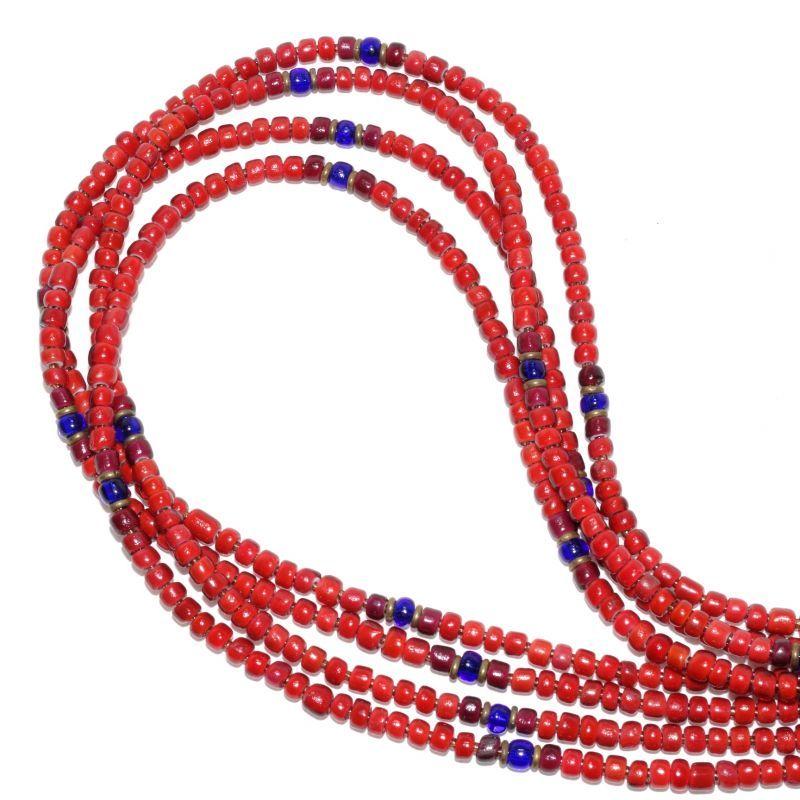 画像1: 【Meltingpot by Lakeman】2way Necklace BROWN RED Purple red x Blue (1)