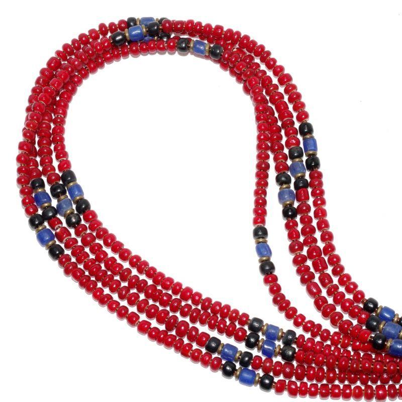 画像1: 【Meltingpot by Lakeman】2way Necklace DEEP RED Black x Blue (1)