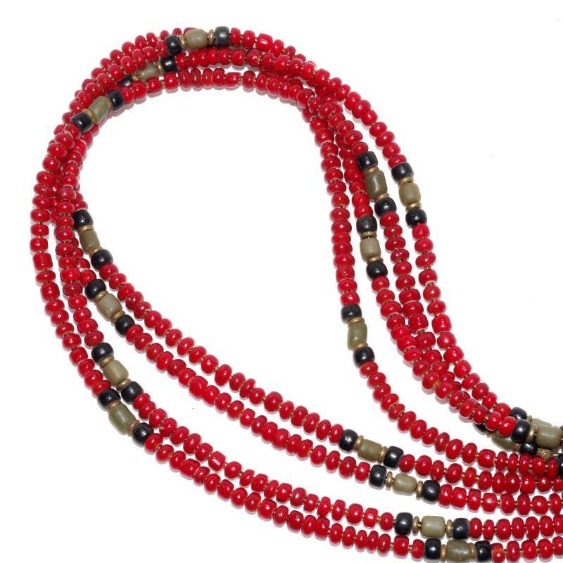 画像1: 【Meltingpot by Lakeman】2way Necklace DEEP RED Black x Olive (1)