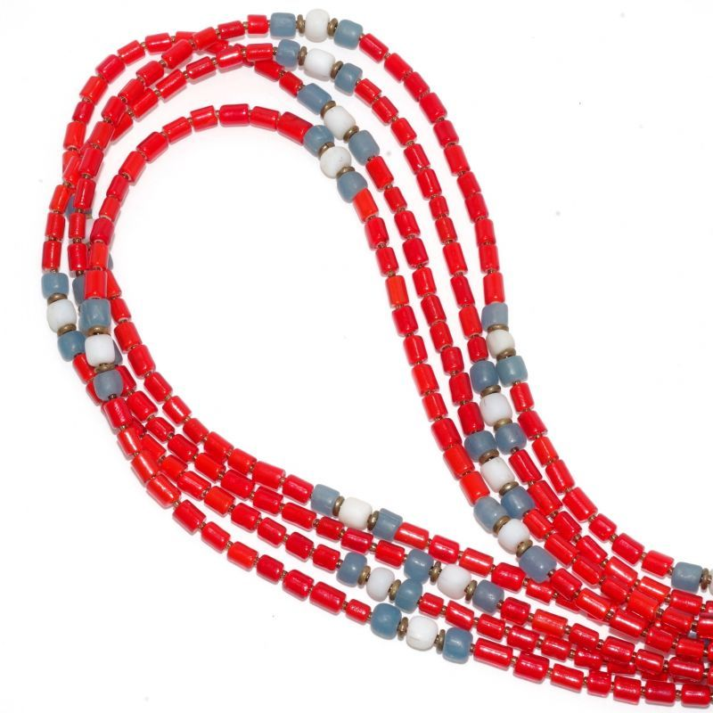 画像1: 【Meltingpot by Lakeman】2way Necklace TUBE RED Light blue x White (1)