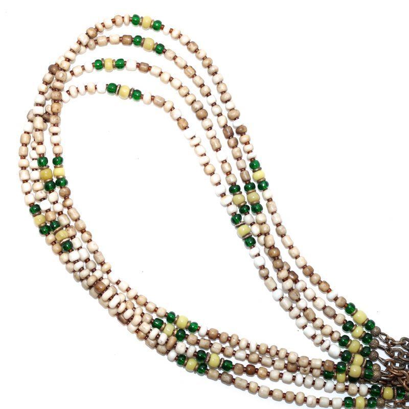 画像1:  【Seed beads】2way Necklace WHITE Green x Yellow beige [MEL114] (1)