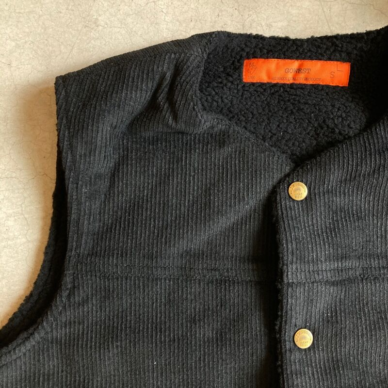 画像1: -GO WEST-  BOA RANCH VEST/CORDUROY×BOA(BLACK) (1)